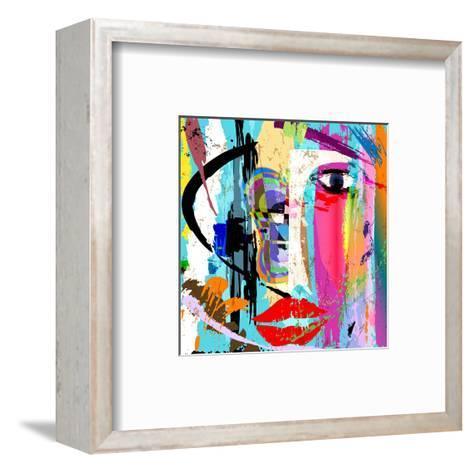 Abstract Background Composition, with Paint Strokes and Splashes, Face/Mask-Kirsten Hinte-Framed Art Print