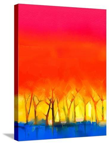 Abstract Colorful Oil Painting Landscape on Canvas. Semi- Abstract Image of Tree and Red Sky. Sprin-pluie_r-Stretched Canvas Print