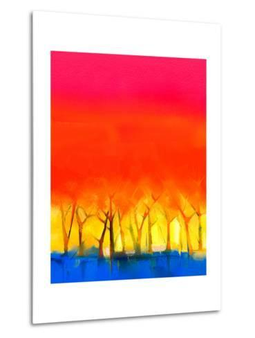Abstract Colorful Oil Painting Landscape on Canvas. Semi- Abstract Image of Tree and Red Sky. Sprin-pluie_r-Metal Print