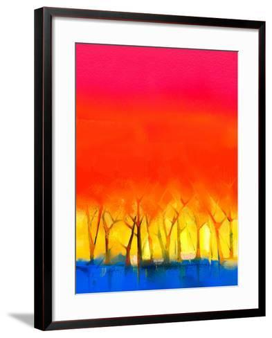 Abstract Colorful Oil Painting Landscape on Canvas. Semi- Abstract Image of Tree and Red Sky. Sprin-pluie_r-Framed Art Print