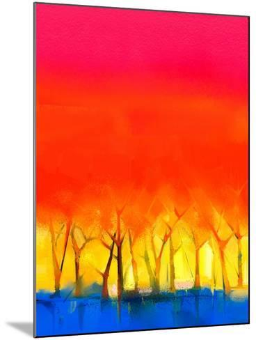 Abstract Colorful Oil Painting Landscape on Canvas. Semi- Abstract Image of Tree and Red Sky. Sprin-pluie_r-Mounted Art Print