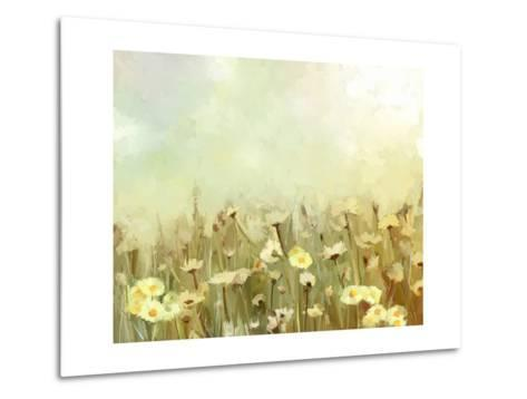 Vintage Oil Painting Daisy-Chamomile Flowers Field at Sunrise.Flower Oil Painting Background-pluie_r-Metal Print