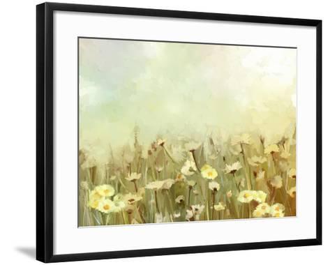 Vintage Oil Painting Daisy-Chamomile Flowers Field at Sunrise.Flower Oil Painting Background-pluie_r-Framed Art Print