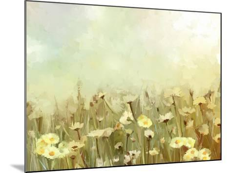 Vintage Oil Painting Daisy-Chamomile Flowers Field at Sunrise.Flower Oil Painting Background-pluie_r-Mounted Art Print