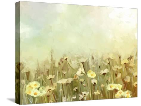 Vintage Oil Painting Daisy-Chamomile Flowers Field at Sunrise.Flower Oil Painting Background-pluie_r-Stretched Canvas Print