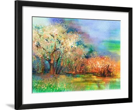 Abstract Colorful Landscape Painting. Oil Painting Mix Watercolor Technique on Paper. Semi- Abstrac-pluie_r-Framed Art Print