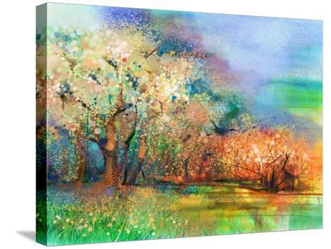 Abstract Colorful Landscape Painting. Oil Painting Mix Watercolor Technique on Paper. Semi- Abstrac-pluie_r-Stretched Canvas Print