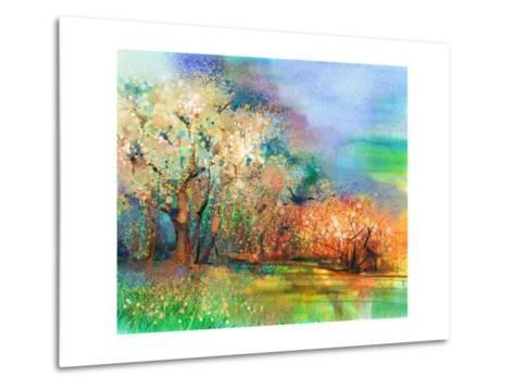 Abstract Colorful Landscape Painting. Oil Painting Mix Watercolor Technique on Paper. Semi- Abstrac-pluie_r-Metal Print