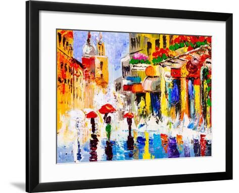 Oil Painting - Colorful Rainy Night-CYC-Framed Art Print