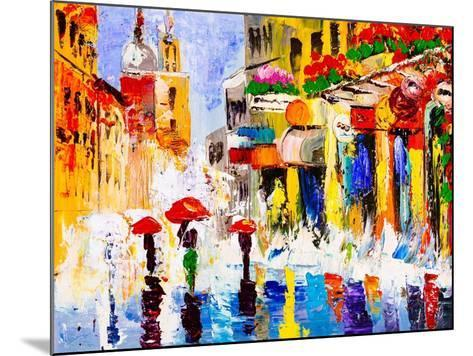 Oil Painting - Colorful Rainy Night-CYC-Mounted Art Print