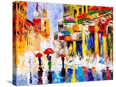 Oil Painting - Colorful Rainy Night-CYC-Stretched Canvas Print