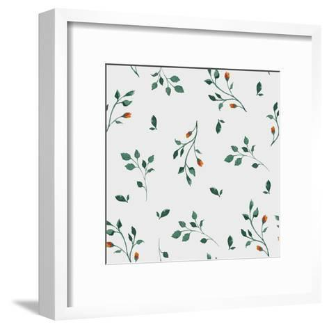 Vector Pattern with Flowers and Plants. Floral Decor. Original Floral Seamless Background. Bright C-Olga Alekseenko-Framed Art Print