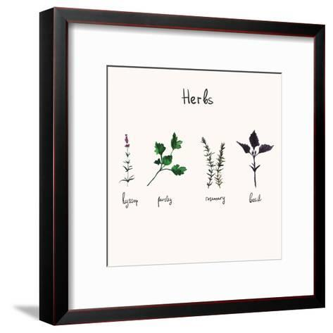 Kitchen Herbs. Watercolor Vector Botanical Collection of Basil, Rosemary, Parsley and Hyssop.- galya-art-Framed Art Print