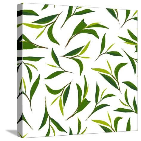 Pure Tea. Botanical Style Seamless Pattern- IraChe-Stretched Canvas Print