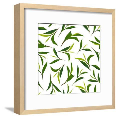 Pure Tea. Botanical Style Seamless Pattern- IraChe-Framed Art Print