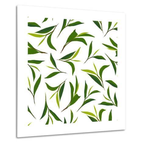 Pure Tea. Botanical Style Seamless Pattern- IraChe-Metal Print