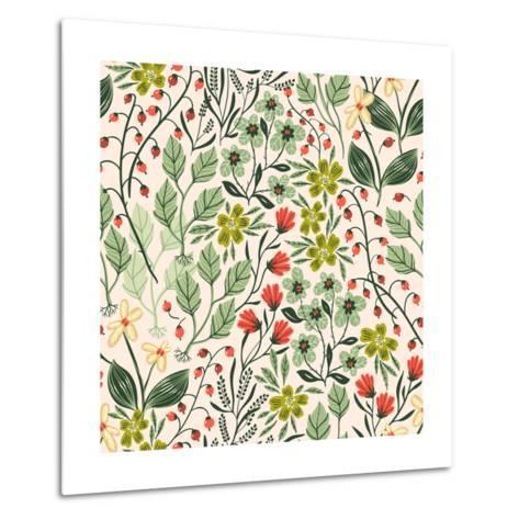 Floral Pattern with Colorful Summer Plants and Flowers-Anna Paff-Metal Print