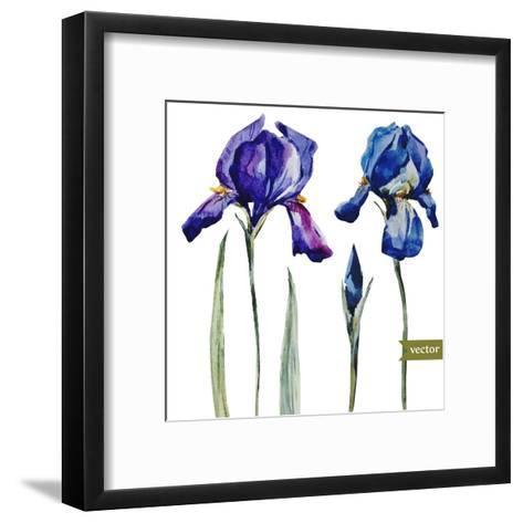 Watercolor Vector Drawing Flowers Blue Iris, Isolated Object, Botanical Floral Illustration Card-Anastasia Zenina-Lembrik-Framed Art Print