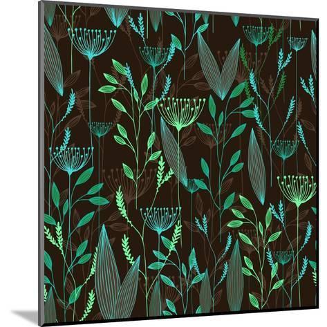 Vector Grass Seamless Pattern. Illustration with Herbs, Botanical Art- oxanaart-Mounted Art Print