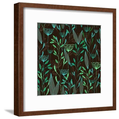 Vector Grass Seamless Pattern. Illustration with Herbs, Botanical Art- oxanaart-Framed Art Print