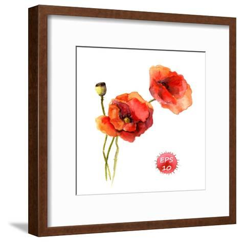 Poppy Flower. Watercolor Vector. Vintage Botanical Illustration-Le Panda-Framed Art Print