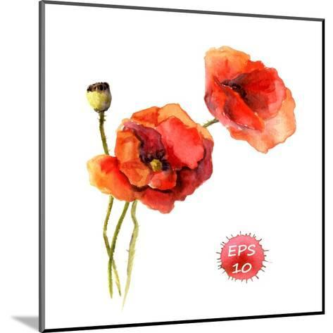 Poppy Flower. Watercolor Vector. Vintage Botanical Illustration-Le Panda-Mounted Art Print