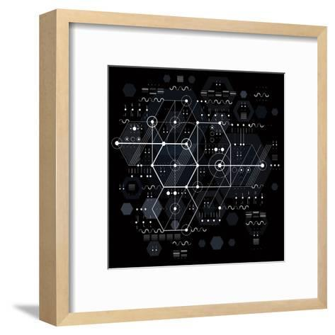 Vector Industrial and Engineering Background, Future Technical Plan. Perspective Blueprint of Mecha-Sylverarts Vectors-Framed Art Print