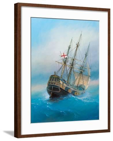 Painting. Oil on Canvas. Shows a 19 Th Century Sailing Ship. the Painting Was Created in 2008.- Dudchik-Framed Art Print