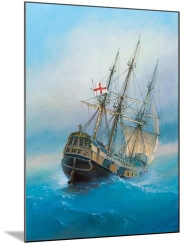 Painting. Oil on Canvas. Shows a 19 Th Century Sailing Ship. the Painting Was Created in 2008.- Dudchik-Mounted Art Print