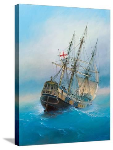 Painting. Oil on Canvas. Shows a 19 Th Century Sailing Ship. the Painting Was Created in 2008.- Dudchik-Stretched Canvas Print
