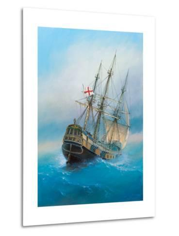 Painting. Oil on Canvas. Shows a 19 Th Century Sailing Ship. the Painting Was Created in 2008.- Dudchik-Metal Print