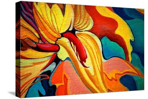 Decorative Flower Painting by Oil on Canvas, Illustration-Mikhail Zahranichny-Stretched Canvas Print