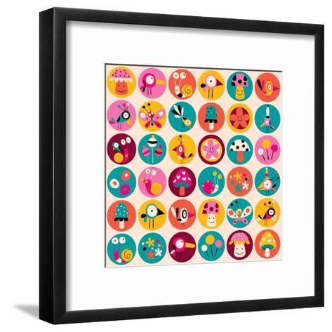 Flowers, Birds, Mushrooms & Snails Pattern-Alias Ching-Framed Art Print