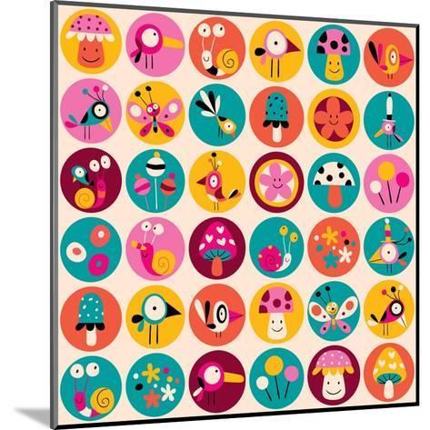 Flowers, Birds, Mushrooms & Snails Pattern-Alias Ching-Mounted Art Print