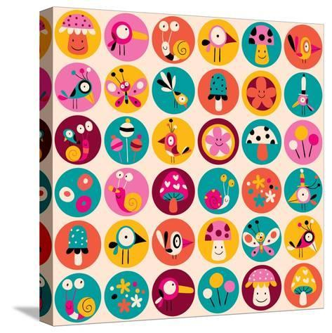 Flowers, Birds, Mushrooms & Snails Pattern-Alias Ching-Stretched Canvas Print