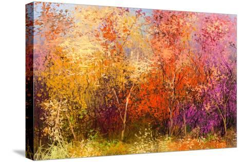 Oil Painting Landscape - Colorful Autumn Trees. Semi Abstract Image of Forest, Trees with Yellow --pluie_r-Stretched Canvas Print