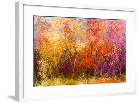 Oil Painting Landscape - Colorful Autumn Trees. Semi Abstract Image of Forest, Trees with Yellow --pluie_r-Framed Art Print