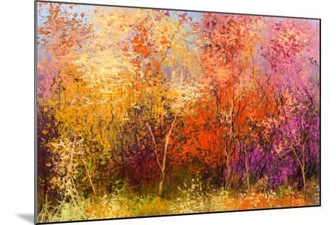 Oil Painting Landscape - Colorful Autumn Trees. Semi Abstract Image of Forest, Trees with Yellow --pluie_r-Mounted Art Print