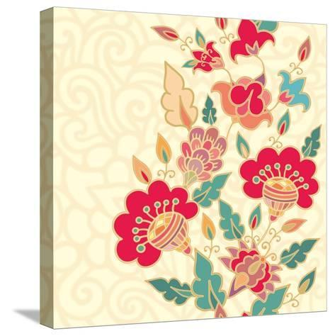 Floral Border-aniana-Stretched Canvas Print