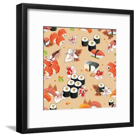 Beautiful Flower Japan Seamless Pattern, Vector Illustration Sushi Texture-Alexey Vl B-Framed Art Print