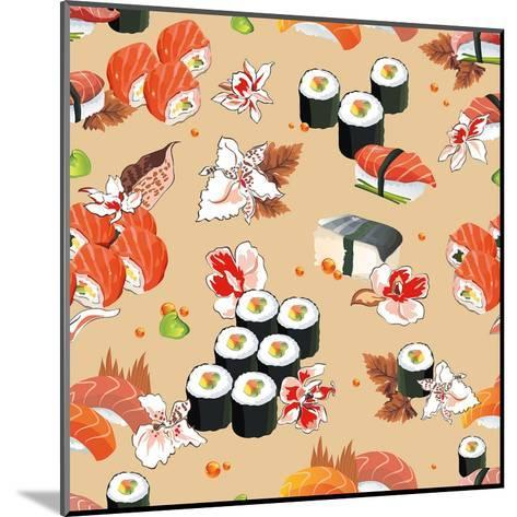 Beautiful Flower Japan Seamless Pattern, Vector Illustration Sushi Texture-Alexey Vl B-Mounted Art Print