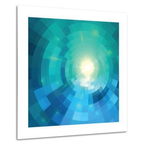 Abstract Blue Shining Circle Tunnel Vector Background-art_of_sun-Metal Print