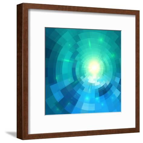 Abstract Blue Shining Circle Tunnel Vector Background-art_of_sun-Framed Art Print