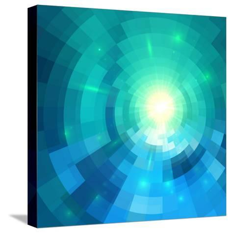 Abstract Blue Shining Circle Tunnel Vector Background-art_of_sun-Stretched Canvas Print