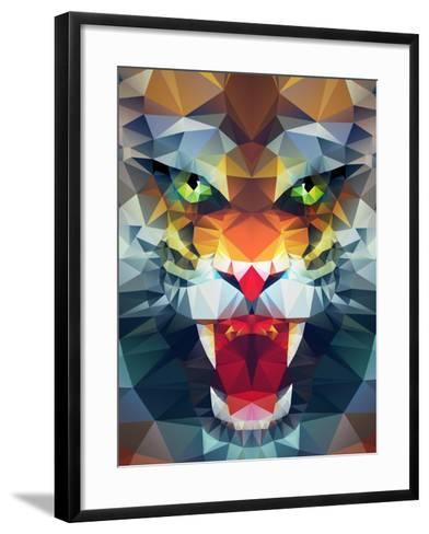 Abstract Polygonal Tiger. Geometric Hipster Illustration. Polygonal Poster- Merfin-Framed Art Print