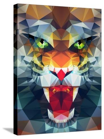 Abstract Polygonal Tiger. Geometric Hipster Illustration. Polygonal Poster- Merfin-Stretched Canvas Print