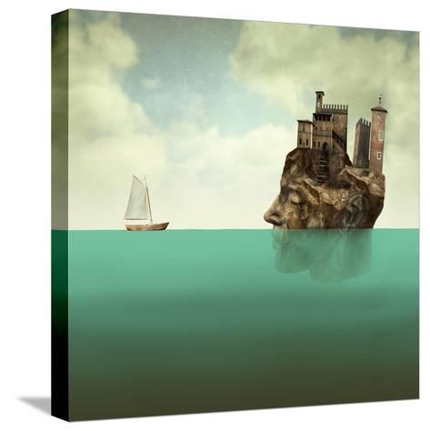 Artistic Surreal Illustration Representing a Head, a Profile Face of Man in Stone with Ancient Towe-Valentina Photos-Stretched Canvas Print