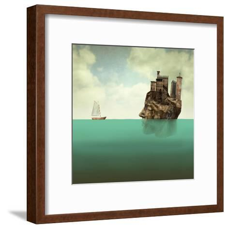 Artistic Surreal Illustration Representing a Head, a Profile Face of Man in Stone with Ancient Towe-Valentina Photos-Framed Art Print
