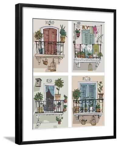 Set of Cute Balcony - Cartoon- iralu-Framed Art Print