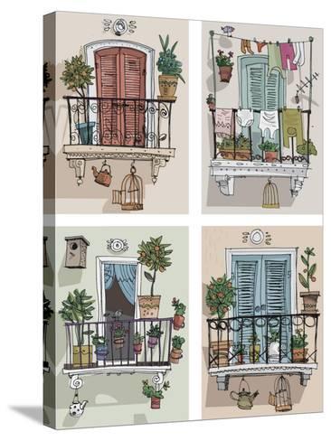 Set of Cute Balcony - Cartoon- iralu-Stretched Canvas Print